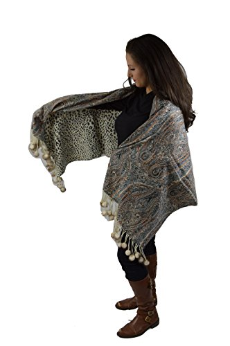 Cashmere Pashmina Group-Cashmere Shawl Scarf Wrap Stole (Solid/Reversible Print w/Genuine Fur) - Mink Off White