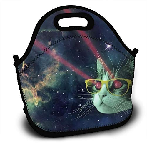 Tidyki Neoprene Lunch Bag Tote Washable Lunchbox Non-Toxic Insulated Handbag with Shoulder Strap for School Office Picnic Gym Red Meme Laser Cat Glasses