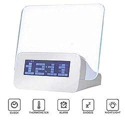 ALZWZ LED Fluorescent Message Board Alarm Clock, Luminous Sensor Lazy Student Music Alarm Clock, Three Groups of Alarm Clock Temperature Countdown