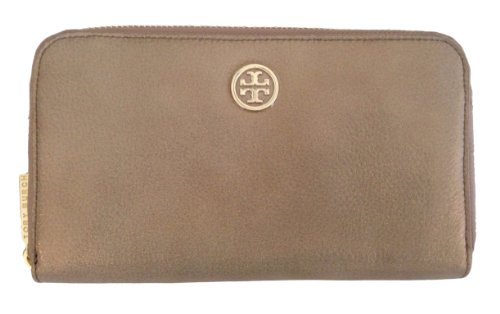 Tory Burch Glitter Zip Continental Clutch Wallet Choco Leather