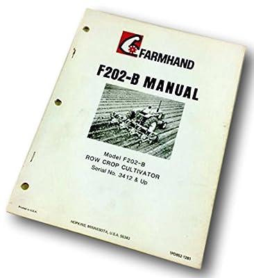 Farmhand F202-B Row Crop Cultivator Operators Manual Instructions Parts List