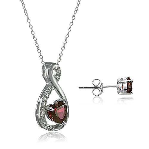 Lovve Sterling Silver Gemstone & White Topaz Infinity Heart Necklace Earrings Set - http://coolthings.us