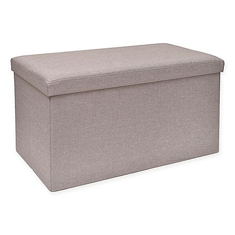 Folding Storage Ottoman with Tray in Grey Measures 30