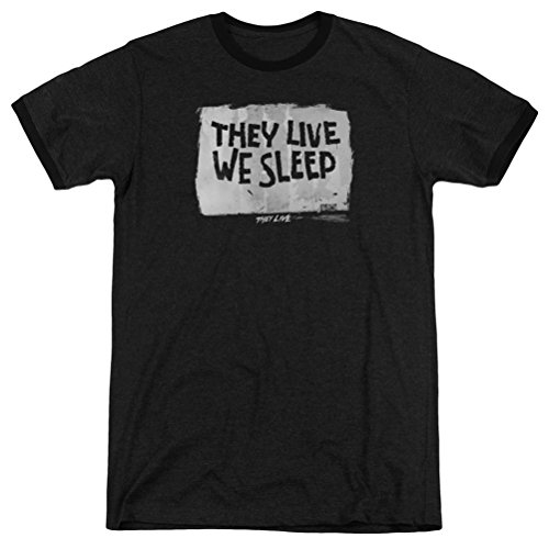 They Live They Live We Sleep Ringer Shirt, Black, Medium ()