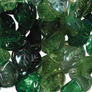UnCommon Artistry Czech Glass 7x12mm Leaf Mix Beads (Pack of 50) (Evergreen)