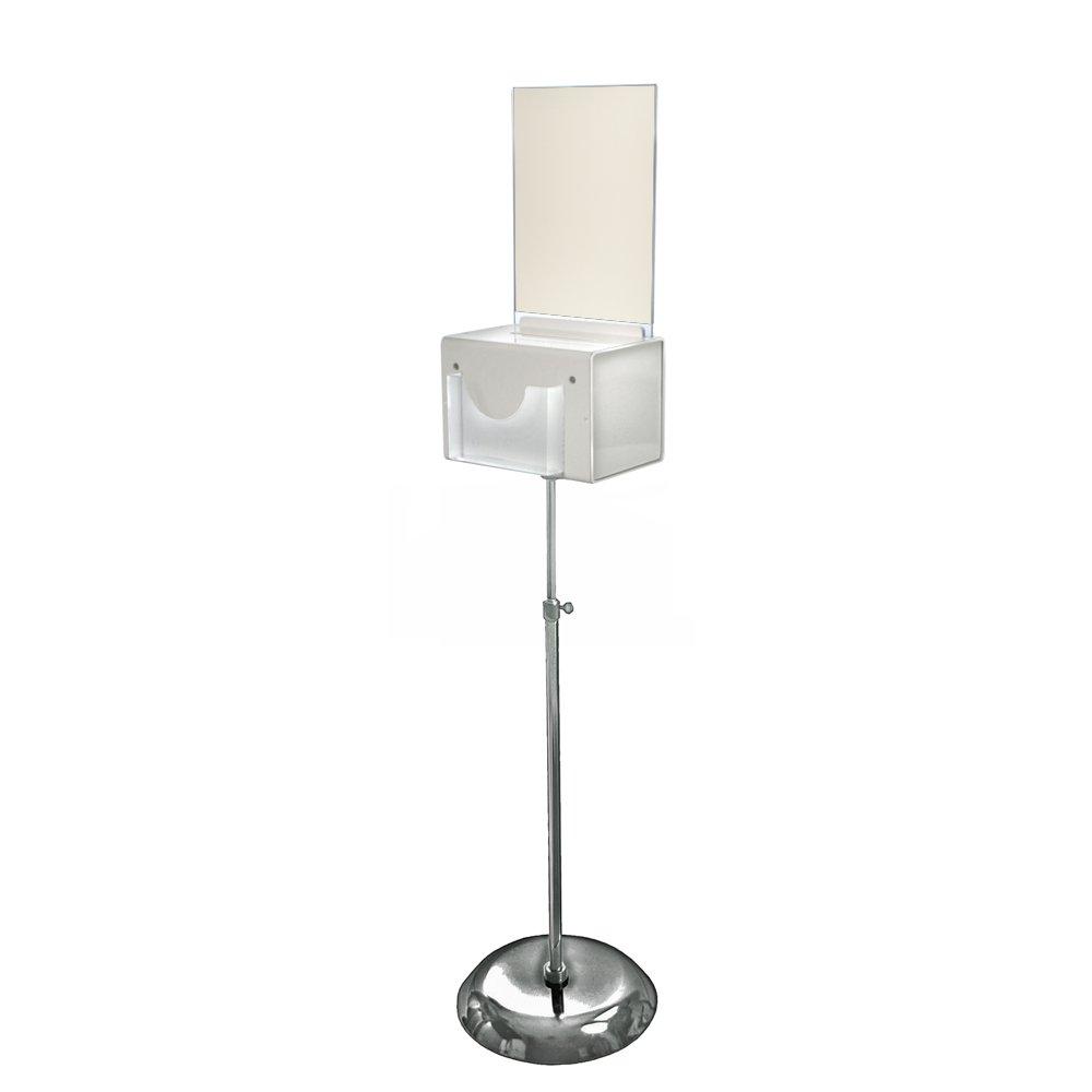 Azar Displays 206320-WHT 9'' W x 6.25'' D x 6.25'' H Large White Suggestion Box with Pocket, Lock & Keys on Pedestal by Azar Displays