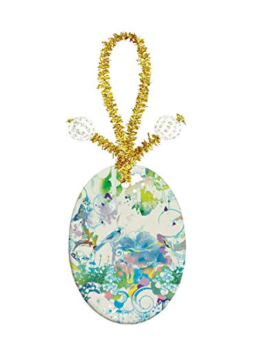 Porcelain Oval Jewelry Pendant - Eunice Watercolor Hummingbird with Flowers Porcelain Ornament Crafts Oval Porcelain Christmas Decorations Home Hanging Jewelry Gift Souvenir