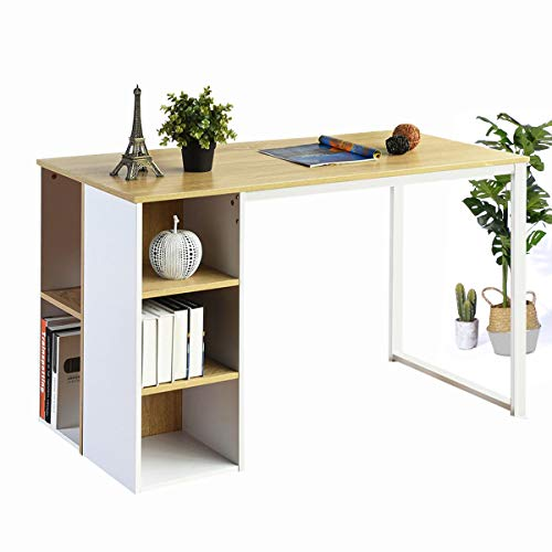 Coavas Computer Desk Office Writing Desk with 5 Shelves Large Study Student Table Laptop Notebook Desk with Storage Home Workstation Collection PC Wood Organizers with Metal Legs - Light Brown/White