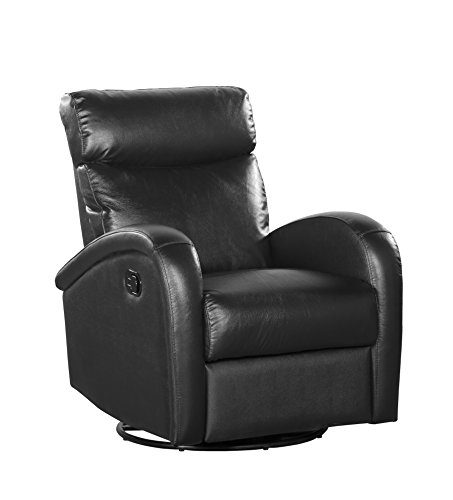 Deluxe Swivel Glider Recliner (Shermag Deluxe Swivel Glider with Push-Button Recline, Black Bonded Leather)