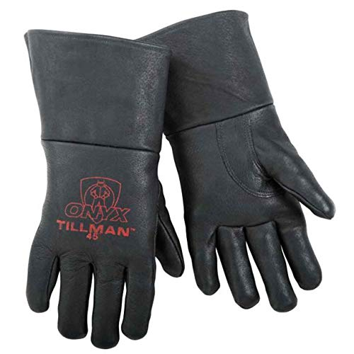 Pigskin Grain - Tillman 45 Top Grain Pigskin Foam Lined Thumb Strap MIG Welding Gloves, Medium