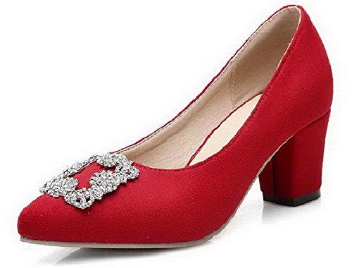 Odomolor Damen Ziehen auf Spitz Zehe Mittler Absatz Nubukleder Rein Pumps Schuhe, Rot, 41