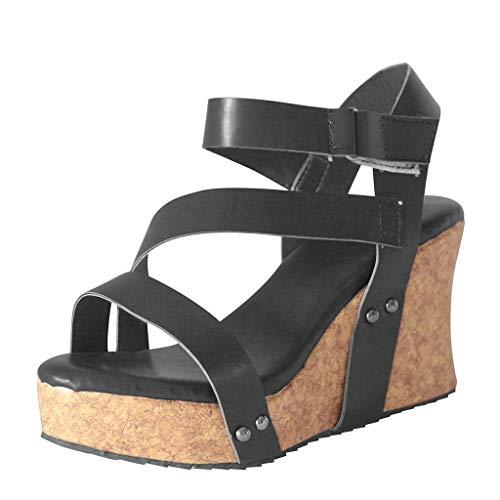 BOLUBILUY Wedges Sandals for Women,Open Toe Strap Studded Flat Leather Slingback Cutout Summer Cork Flatform Shoes Black ()