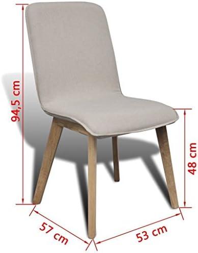 Festnight Lot de 6 Chaise de Cuisine pour Salle à Manger en Chêne et Tissu Design Scandinave