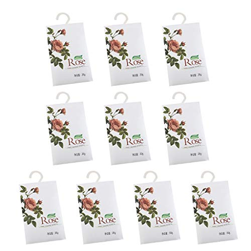 GreatGiftList Premium Scented Sachets Bags Clothes Fragrant for Drawers Closets Room Wardrobe Bathrooms Cars, Fresh Floral Scented Bags, Pack of 10 Large Sachets with Hanger (Rose)