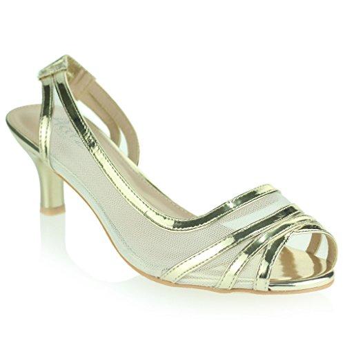 51b937222f57 ... sandales Chaussures Taille. 30%OFF Femmes Dames Soir Mariage Fête Bal  de promo De mariée Slingback Faible Talon