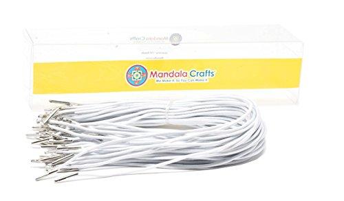 Mandala Crafts Menu Mask Badge Sign Hanging Elastic Barbed Cord Loop Band with Metal Barbs (13 Inches 50 Loops, White)