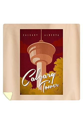 Calgary, Alberta, Canada - Calgary Tower - Vintage Landmark Stamp 95738 (88x88 Queen Microfiber Duvet Cover)