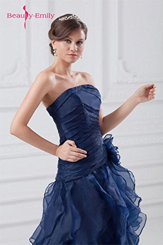 Beauty-Emily Maxi Tulle Sleeveless Ruching Pleat Flower Zipper Christmas Gifts Night Evening Dresses Color Dark Blue,Size US20W by Beauty-Emily (Image #5)
