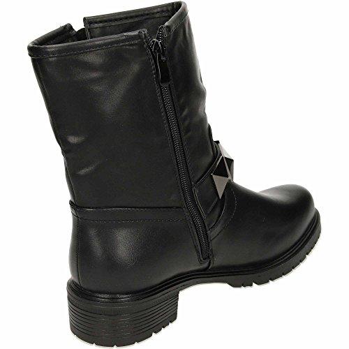 JWF Flat Mid Calf Ankle Biker Boots Zip Up Stud Leather Style Black e7z92kVqz