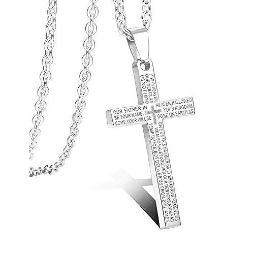 6e3f1187ce76 Venta caliente 2018 Besteel Acero Inoxidable 3MM Cruz Collar Colgante para  Hombre Mujer Cadena Inglés Biblia