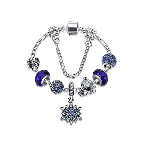 Spring/Summer Street Jewelry Crystal Snowflake Bracelets Glass Ornaments (Blue, ()
