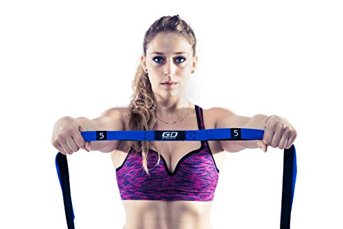 Stretching Strap for YOGA with 10 Loops! Great For Physical Therapy and Pilates Exercises Includes Grip Ring and Carrying Bag By GO Strength