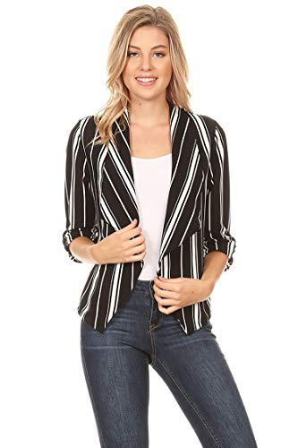 Solid Print 3/4 Sleeve Relax Fit Open Front Cardigan Blazer Jacket/Made in USA Stripe Black2 2XL