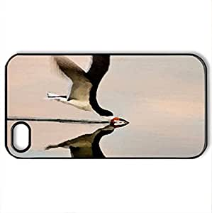 lintao diy Black Skimmer - Case Cover for iPhone 4 and 4s (Birds Series, Watercolor style, Black)