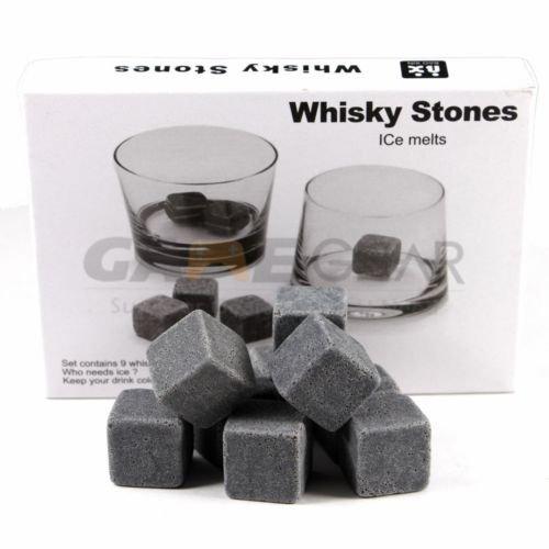 9pc Whiskey Whisky Scotch Soapstone Cold Glacier Stone Ice Cubes Rocks Free - Glacier Glasses Wiki