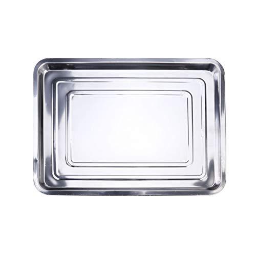 UPKOCH Bakplaat, bakplaat, roestvrij staal, opvangbak, grillschalen om te bakken, braden, koken, 45 x 35 x 2 cm