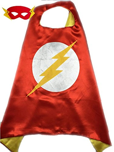 Superhero or Princess CAPE Adult Teen Size, Mens Womens Halloween Costume Cloak (M (43 inches), Red & Yellow ()