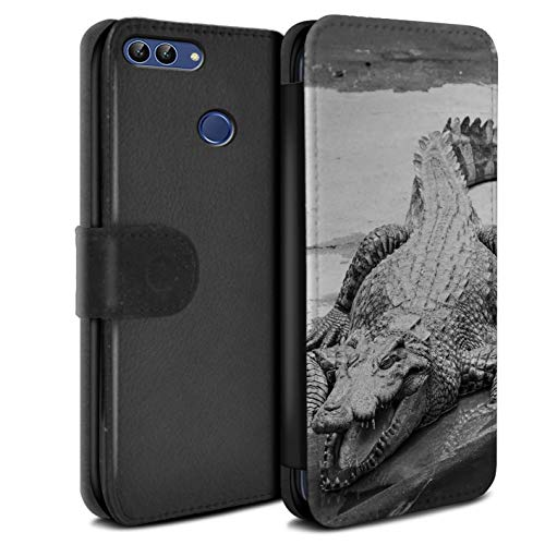 eSwish PU Leather Wallet Flip Case/Cover for Huawei P Smart/Crocodile Design/Mono Zoo Animals Collection