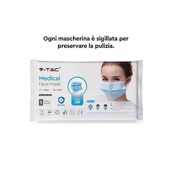 V-TAC-Typ-IIR-Medizinisch-chirurgische-Gesichtsmasken-mit-Ohrschlaufe-Einweg-Vliesstoff-3-lagig-spritzwasserfest-50-Stck-pro-Schachtel-einzeln-verpackt