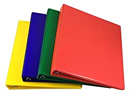 "Samsill 1"" View Binders 4 Pack Heavy Duty Non Stick Vinyl Highlighter Tinted Colors"