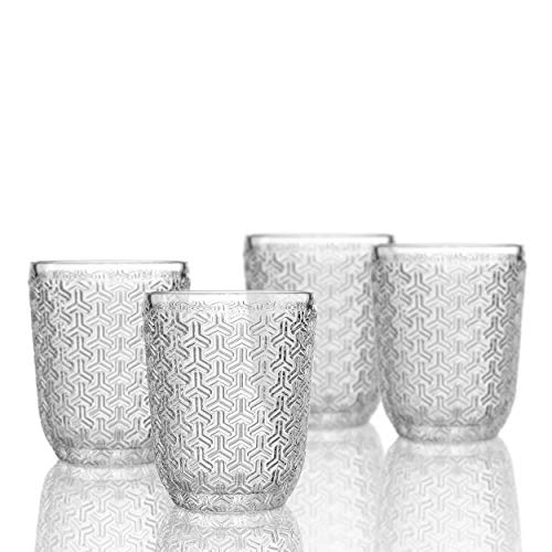 Elle Decor 229806-4OF Bistro Key 4 Pc Set Old Fashions, Clear-Glass Elegant Barware and Drinkware, Dishwasher Safe, 10.8 Oz,