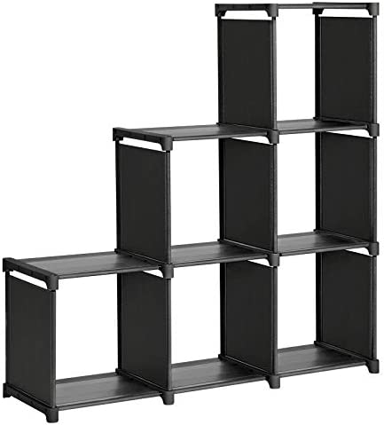 SONGMICS 6-Cube Storage Rack, Staircase Organizer, DIY Storage Shelf, Bookcase in Living Room, Children s Room, Bedroom, for Toys and Daily Necessities, Black
