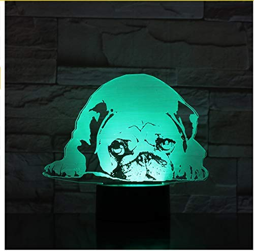 OVIIVO Creative Table Lamp Desk Lamp 3D Night Light Cute Dog Model Toy 3D Night Lamp Led Light Kids Hobbies Using for Reading, Working