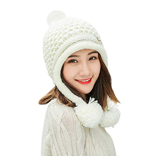 (HUAMULAN Women Skull Winter Peruvian Beanie Hat Ski Cap Fleece Lined Ear Flaps Pompoms)