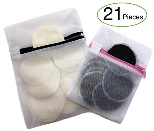 Reusable Cotton Rounds   Organic Bamboo Makeup Remover Pads   3-Layer Charcoal Design without Dye and Chemical   2 Laundry Bags   Zero Waste Eco Friendly Skin Care Facial Cloth - Toner Black 21k
