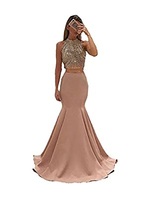 Dressytailor Two Piece Beaded Sparkly Mermaid Prom Dresses Formal Evening Party Dresses