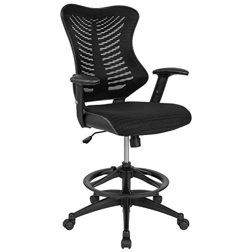 Flash Furniture High Back Designer Black Mesh Drafting Chair with Leather Sides and Adjustable Arms