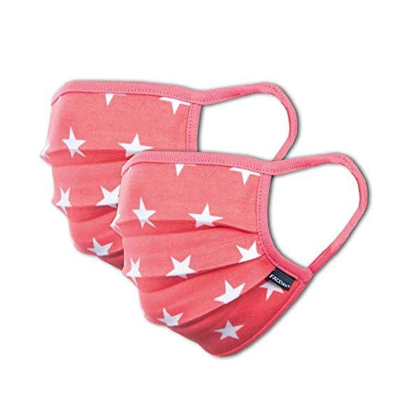 Facetex-2er-Pack-Mundschutz-Maske-Kinder-Junge-Mdchen-waschbar-rosa-pink-Sterne-aus-100-Baumwolle-Oeko-TEX-100-Standard-Earloop-Design-wiederverwendbarer-Mund-und-Nasenschutz-Ab-10