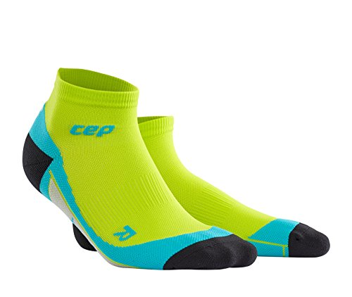 CEP Men's Dynamic+ Low Cut Socks with Compression and Light, Breathable Fit for Cross-Training, Running, Recovery, Tiathletes, and all Endurance and Team Sports, Lime/Hawaii Blue, 4