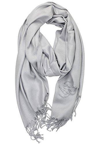 (Achillea Soft Silky Solid Pashmina Shawl Wrap Scarf for Wedding Bridesmaid Evening Dress ... (Silver Grey))
