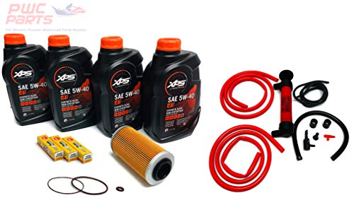 Sea O-ring Set - SeaDoo 4-TEC Oil Change Kit ALL 2002+ 4-TEC 130/155/185/215/255/260hp GTX RXT RXP RXP-X RXT-X GTI w/ 4 Quarts XPS 05W30 Oil, 4-TEC Oil Filter, O-Ring Kit, NGK Spark Plug Set, Deluxe Oil Extractor Pump