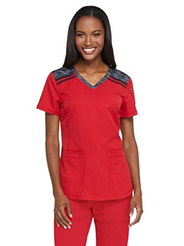 Dickies Dynamix Women's V-Neck Solid Scrub Top Small Red