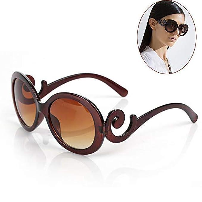 Ragazze Ghaoidfh Regalo Uv400 Occhiali Vintage moda Rotondi Polarizzati Alla brown Protezione Per Moda Graziosi Donne E