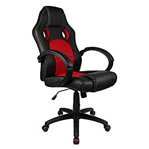 Homall Office Chair Executive Swivel Leather Desk Chair, Racing Style Task Chair High-back Gaming Chair Pu Leather and Mesh Bucket Seat,Computer Lumbar Support Chair (Red)