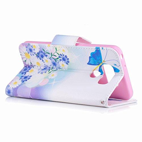 Yiizy LG G6 (H870, H870K, H870S, H870V) Custodia Cover, Farfalla Blu Design Sottile Flip Portafoglio PU Pelle Cuoio Copertura Shell Case Slot Schede Cavalletto Stile Libro Bumper Protettivo Borsa