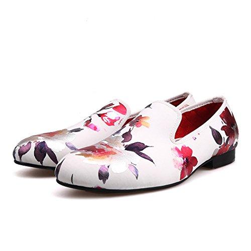 81829acdd7530 Amazon.com | HI&HANN White Color Print Gold Flower China Style Men's ...